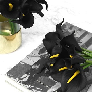 "FloralGoods Real Touch 9 Calla Lily Bouquet in Black 13"" Tall"