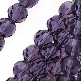Amethyst Purple Glass Faceted Round Beads 6mm (15 Inch Strand)