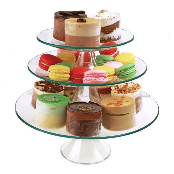"Palais Glassware Elegant High Quality Glass Cupcake or Cake Stand - Party Centerpiece (8"" - 10"" - 12"" - 3 Tier, Round)"