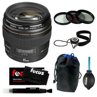 Canon EF 85mm f/1.8 USM Medium AF Telephoto Lens w/ Filter Set & Accessory Kit - Black