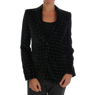 Dolce & Gabbana Green Embroidered Velvet Blazer Jacket