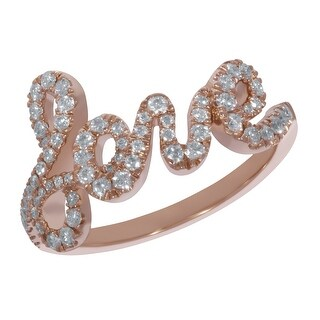 "Prism Jewel 0.54Ct Round G-H/SI1 Natural Diamond ""Love"" Infinity Ring"