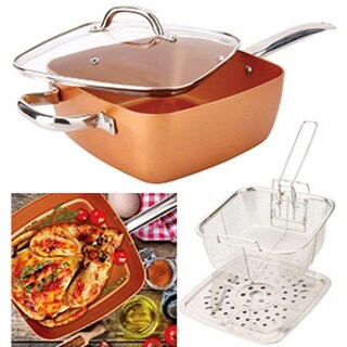 4-pc Square Copper Cookware Pan Set