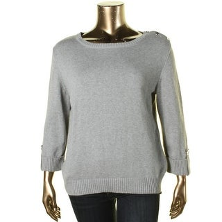 Karen Scott Womens Scoop Neck Button Shoulder Pullover Sweater