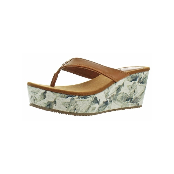 58c41072381e Shop Tommy Bahama Womens Saige Wedge Sandals Faux Leather Slip On ...
