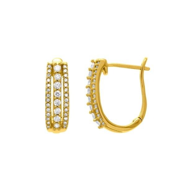 1/2 ct Diamond Hoop Earrings in 14K Gold
