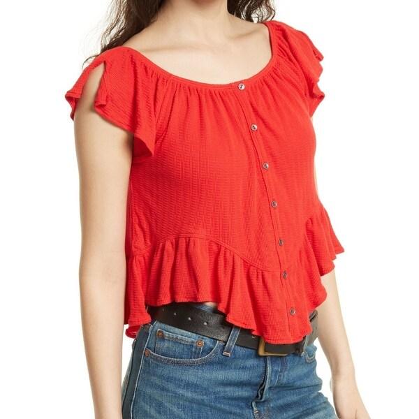 We The Free Red Women's Size XS Bird Gang Ruffle Tee-Shirt Top