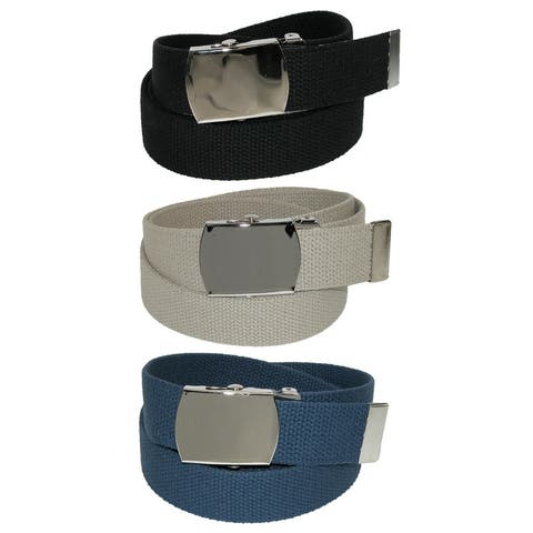 CTM® Cotton with Nickel Buckle Adjustable Belt (Pack of 3 Colors) - one size