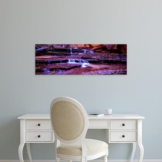 Easy Art Prints Panoramic Image 'Stream flowing through rocks, North Creek, Zion National Park, Utah, USA' Canvas Art