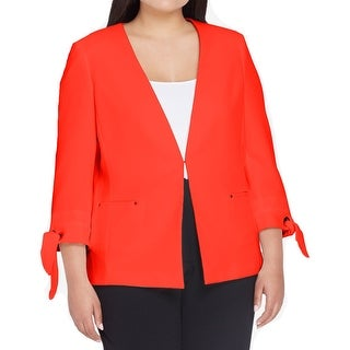 Tahari By ASL NEW Red Women Size 20W Plus Front-Clasp Tie-Sleeve Jacket