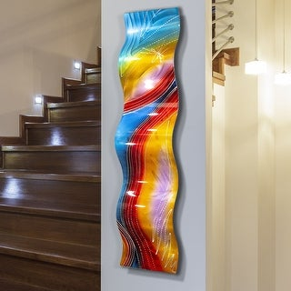 Statements2000 Rainbow Abstract Metal Wall Art Accent Sculpture by Jon Allen - Accumbent Wave