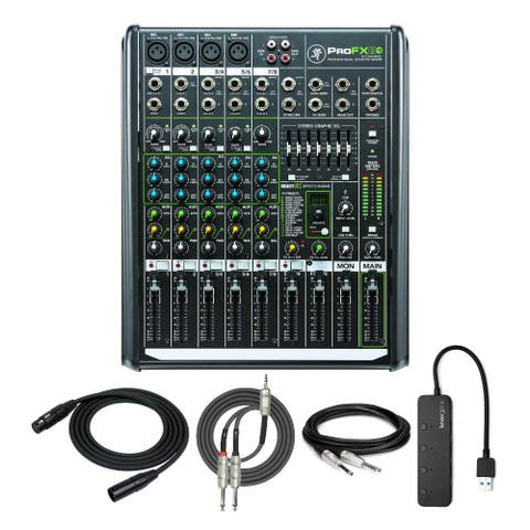 Mackie ProFX8v2 8-Ch Professional Effects Mixer with USB Hub & Cables