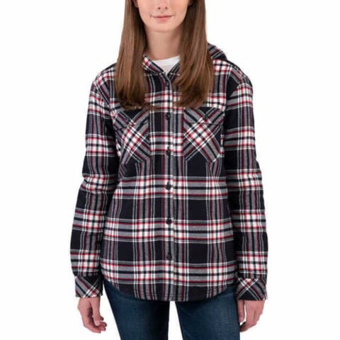 Boston Traders Women Plush Sherpa Lined Hooded Cotton Flannel Shirt Jacket Plaid