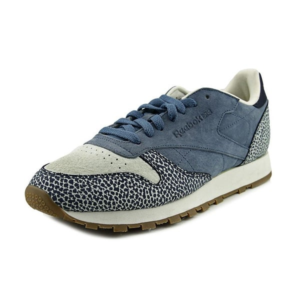 Reebok Cl Leather Men  Round Toe Leather Blue Tennis Shoe
