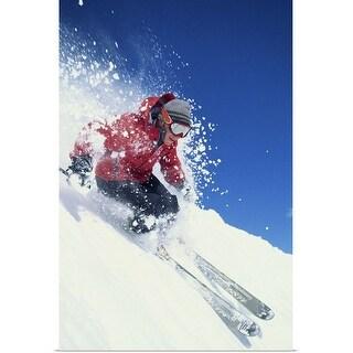 """Skier skiing downhill"" Poster Print"