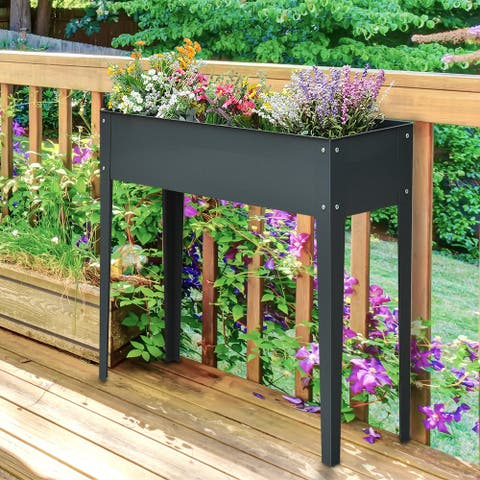 Outsunny 40 in. x 32 in. x 12 in. Metal Elevated Garden Bed Planter Box