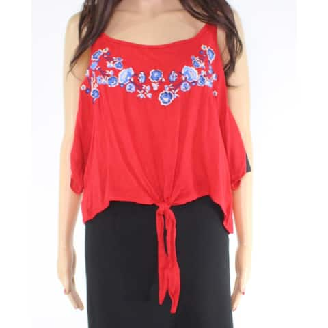 Polly & Esther Women Top Blouse Red Large L Tank Cami Floral Tie-Front