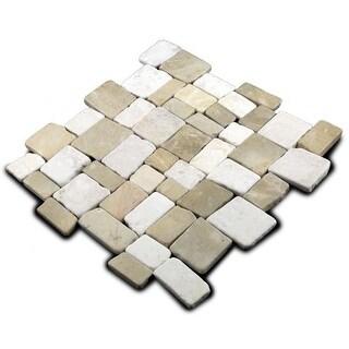 Miseno MT-Q3RTWH Cube Mosaic Natural Stone Tile (9.68 SF / Carton)