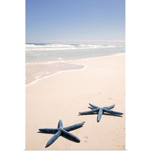 """Two blue starfish at water's edge on tropical beach, Riviera Maya"" Poster Print"