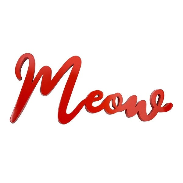 """40"""" Red Solid """"Meow"""" Hand-Painted Wall Decor - N/A"""