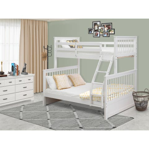 ODB-05-W Twin bunk bed- Two split beds and ladder with four steps and Guard Rails-Twin Full size bed & Linen White Finish