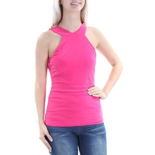 Womens Pink Sleeveless Halter Casual Top Size XS