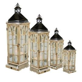 "Set of 4 Wooden Garden-Style Round Lanterns with Silver Handles 49"""