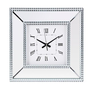 17 Silver Colored and White Square Decorative Mirror Wall Clock with Glossy Finish