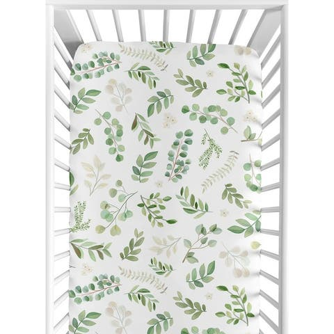 Floral Leaf Collection Girl Fitted Crib Sheet - Green and White Boho Watercolor Botanical Woodland Tropical Garden