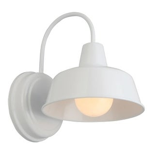 """Design House 579359 Mason Single Light 11-1/8"""" Tall Outdoor Wall Sconce with Whi"""