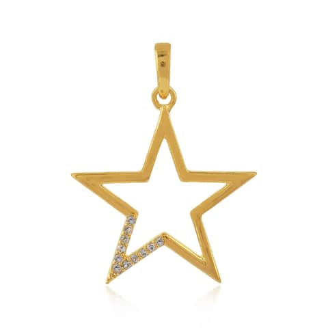 Gold Plated Silver Star Charm Pendant White Topaz Handmade Jewelry Black Friday Sale
