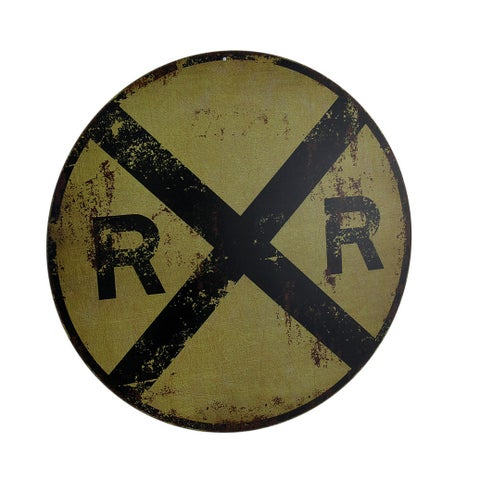 Vintage Finish Round RR Railroad Crossing Sign 12 Inch