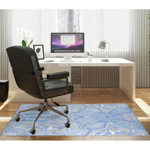 MAHAL BLUE GREY Office Mat By Kavka Designs