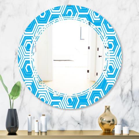 Designart 'Retro Hexagon Pattern VII' Modern Round or Oval Wall Mirror - Triple C