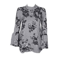 Style & Co Cotton Grey Heather Black Floral-Print Bell Sleeve Mock-Neck Sweater
