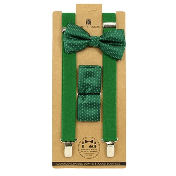 Men's Green Polka Dot 3 PC Clip-on Suspenders, Bow Tie and Hanky Sets FYBTHSU18