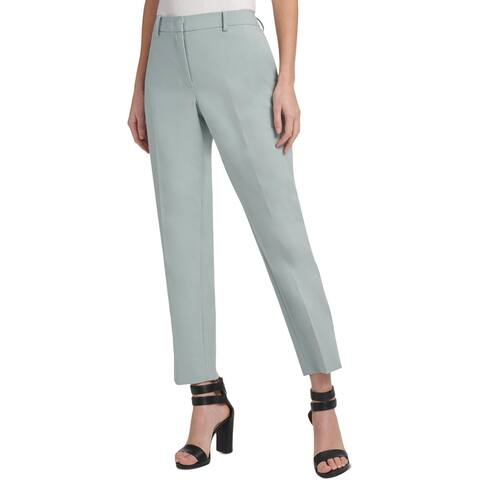 DKNY Womens Petites The Essex Ankle Pants Slim Leg Fixed-Waist - Light Grey