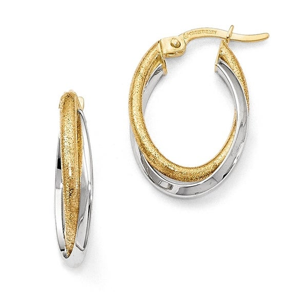 14k Two-tone Oval Gold Earrings