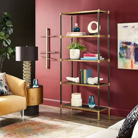 Chesley Black and Gold Finish Bookcase by iNSPIRE Q Bold