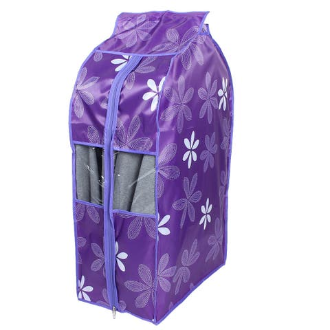 Oxford Cloth Dust Resistant Clothing Cover Bag Purple Flower 50 x 30 x 90cm