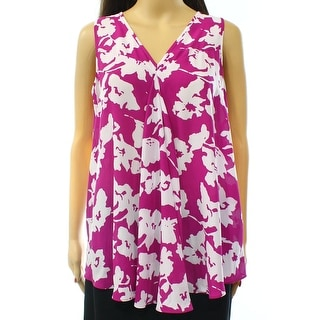 Alfani NEW Purple White Women Size 4 V-Neck Asymmetric Blossom Tank Top