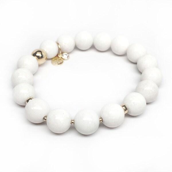 """White Jade Sophia 7"""" Bracelet"""