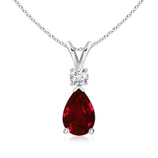 Angara Pear Ruby Teardrop Pendant Necklace with Diamond - Red/White