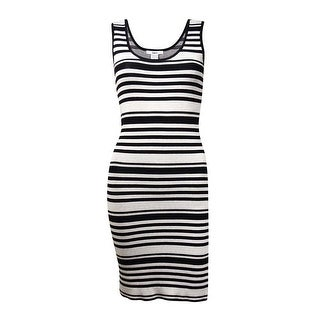 Bar III Women's Sleeveless Striped Knit Sweater Tank Dress - s