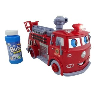 Envo Toys Red Fire Truck Blowing Bursting Hundreds Of Bubbles - N/A