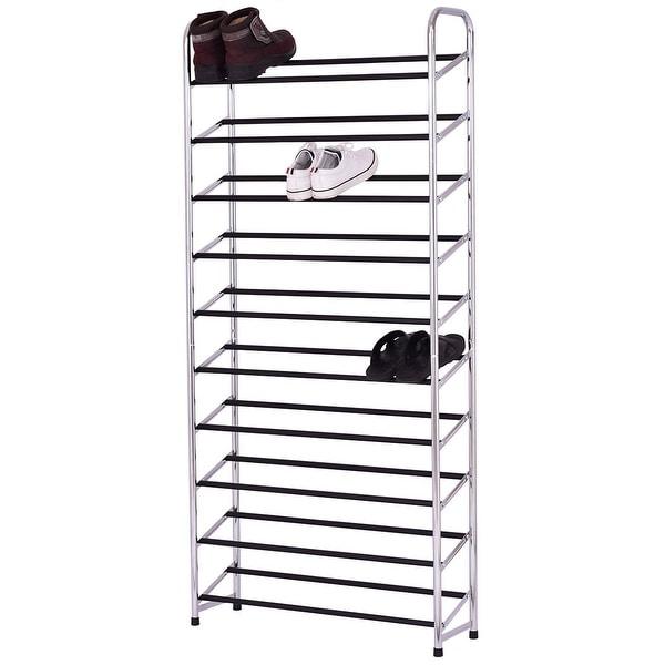 Costway 10 Tier 50 Pairs Shoe Rack Tower Storage Organizer Chromed Steel  Home Furniture Good Looking