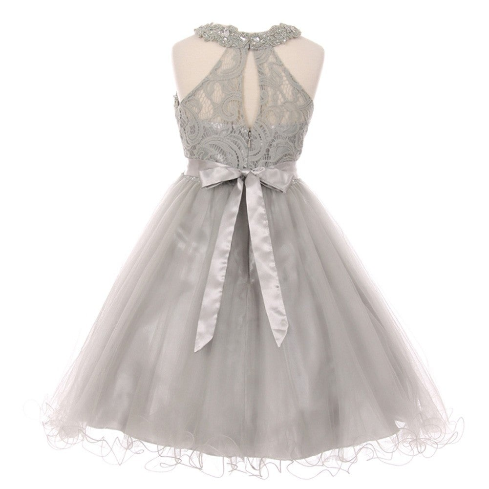 6205c2b6233f Shop Girls Silver Rhinestone Halter Neck Lace Tulle Junior ...