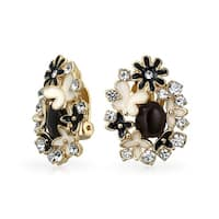 Bling Jewelry Gold Plated Brass Enamel Black Cats Eye Garden Clip On Earrings