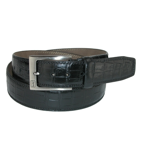 PGA TOUR Men's Gator Print Leather Belt with Hidden Stretch