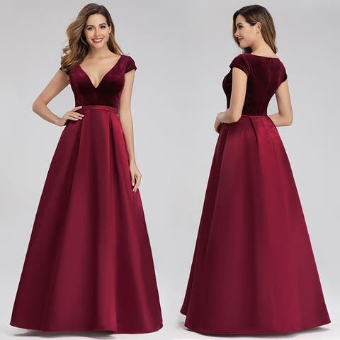 Ever-Pretty Womens Elegant V-Neck Velvet Evening Dresses for Women 0982